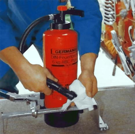 Arbeitsschritte zur Wartung/Prüfung von Feuerlöschern