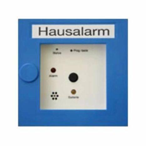 Funk-Druckknopfmelder 6230 Hausalarm  mit integriertem Power-Line Funk-Vernetzungsmodul und 2 x 3-Volt-Batterien als Stromversorgung.
